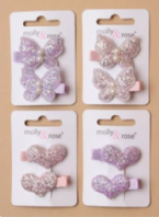 Card of 2 glitter heart / butterfly motif ribbon covered clips (Code 3990)